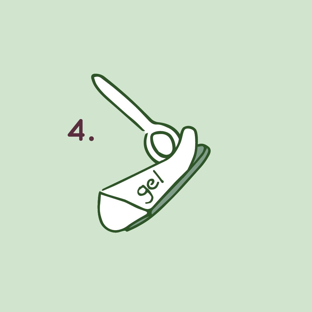 Stap 4 - Lepel de gel uit het blad