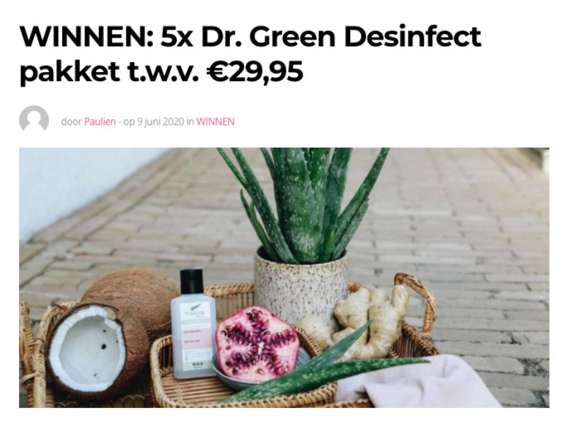 Win een Dr. Green desinfect pakket t.w.v. 29,95 - Dr. Green